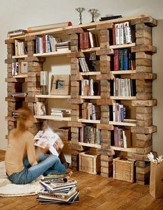 bricks//wood = bookshelves