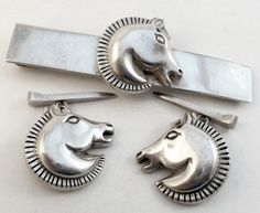 Antonio Pineda Art Deco Horsehead cuff links and tie bar in 970 silver (almost pure silver and higher quality than sterling silver).