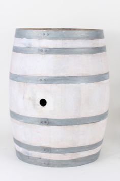White Washed Wine Barrel. Vinyard and Beach vibe mixed into one.