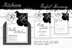 Petal Noir - Perfect Harmony - stunning wedding invitation, along with matching 'Save The Date' and 'RSVP' card.