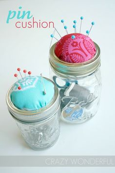 Crazy Wonderful: mason jar pin cushion - tutorial