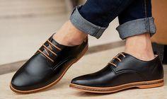 Nuevo-2015-hombres-zapatos-de-cuero-casuales-zapatos-con-cordones-de-cuero-negro-Brown-de-cuero