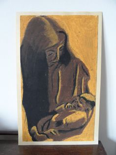 Oil pastel drawing of Mother and Child. by CraftwithCartwright, £12.00 Use code PIN10 to get 10% off in my Etsy shop