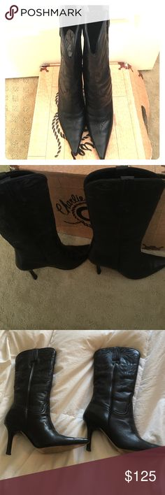 Charlie One Horse by Lucchese Charlie One Horse Boots by Lucchese, VERY GOOD CONDITION, 2 1/2 inch heel, worn one time for about 3-4 hours, I have a wide foot & too tight in toe area for me, Black & Beautiful! I hate to part with them! BOX INCLUDED, Lucchese Shoes Heeled Boots
