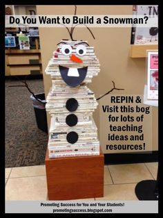 Do you want to build a snowman?!    We spotted this adorable Disney Frozen movie inspired snowman in our local library! How cute is he?!  REPIN and visit this blog for TONS of free teaching ideas and resources! ~ Promoting Success for You and Your Students!