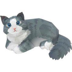 Norwegische Waldkatze,Tiere,Papiermodelle,Norwegen,Säugetiere,Tiere,Katze,Papiermodelle,Haustier-Serie,einfach,Katze,einfach,Katze