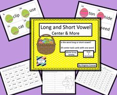 whole group activity, worksheets, and task cards for review of long and short vowel words---Easter theme