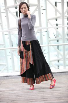 Black Indian Ethnic Linen Patchwork Wide Leg Pants skirt