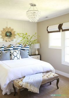 "Our blogger friend Life on Virginia Street brings the summer sun directly into her remodeled guest room with ""fresh and airy"" pieces from Kirkland's, including our Tan Linen Wingback Headboard that pulls the whole look together."