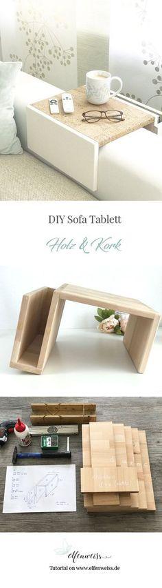 DIY Sofa Tablett aus Holz und Korkstoff - wie einfach ihr diese Couchablage selber machen könnt, erfahrt ihr auf elfenweiss.de - eine Step-by-step Anleitung unterstützt Euch beim Bau Eures Sofatabletts #Diy #Sofas #Hacking