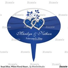 Shop Royal Blue, White Floral Hearts Wedding Cake Pick created by NiteOwlStudio. Heart Wedding Cakes, Floral Wedding Cakes, Fall Wedding Cakes, Wedding Cake Designs, Blue Wedding, Wedding Cupcake Toppers, Wedding Cupcakes, Heart Cake Design, Cake Sizes