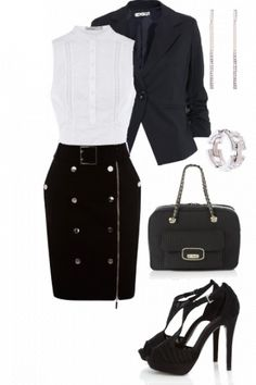 Outfit styled on Fantasy Shopper #fashion #style Black suede skirt, A X suede bag, white shirt with lace, black heels and jacket and silver bijou