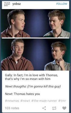 Will Poulter and Thomas Brodie-Sangster:) LOL I LOVE THAT sounds like someone got a little jealous