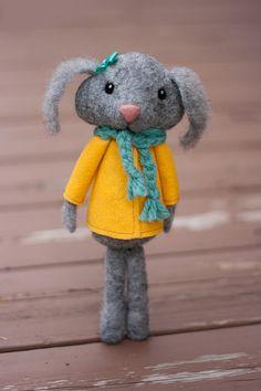 Jill Needle Felted Rabbit Doll by MiloandBen on Etsy, $75.00
