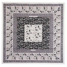 38474 auth HERMES white pink & gray silk twill 90cm CHASSE EN INDE Scarf