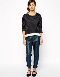 Enlarge The Laden Showroom X Even Vintage Jewelled Collar Woven Sweatshirt