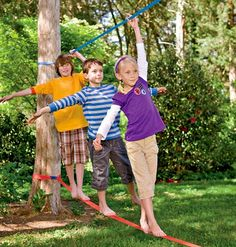 Ready to help your kids develop better balance and core strength? You need a backyard slackline! Learn how to put one up. They're easy!
