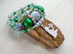Wide bracelet memory. Bracelet  sign zodiac Virgo. Exclusive decoration hand. Multilayer bracelet for all sizes. Green bracelet in one copy. by AdornmentTala on Etsy