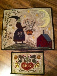 Finished these two ...heart date rug pattern by Anne Nichols and October by Lori Brechlin both hooked by me .....