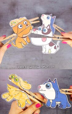 Clothespin Puppets For Kids Printable dog clothespin puppets for kids.Printable dog clothespin puppets for kids. Baby Art Crafts, Animal Crafts For Kids, Toddler Crafts, Preschool Crafts, Diy Crafts For Kids, Toddler Activities, Kids Crafts, Arts And Crafts, Craft Ideas