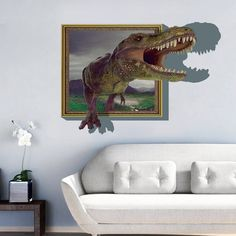 Creative dinosaur cartoon wall stickers three-dimensional wall stickers Living room bedroom decoration DIY home decor Cheap Wall Stickers, Removable Wall Stickers, Wall Stickers Murals, Kids Room Murals, Kids Room Art, Kids Rooms, Living Room Bedroom, Bedroom Decor, Nursery Room