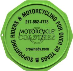 The Original Custom Imprinted Motorcycle Coaster® Green Motorcycle, Coasters, Prints, Plate, Ink, Check, Design, Color, Dishes