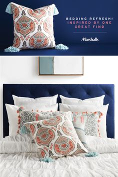 Refresh where you rest. Switching up your bedding can start with one great find! First, shop for the pillow that grabs you from the shelf (like this paisley print with tassel details), then let it inspire the rest! Add additional throw pillows with similar details, colors or prints. Vary the shapes and sizes and feature your favorite! Prop them up in front of clean white Euro shams, which give muted prints some extra pop. Visit Marshalls today to inspire your own bedding refresh!