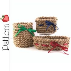 crochet with twine | PATTERN Crochet Twine MINI BASKETS Trio - Round, Square and Oval