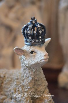 Vintage Lamb Statue with Rhinestone Crown by edithandevelyn on Etsy