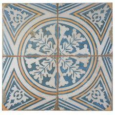 "EliteTile Royalty 17.75"" x 17.75"" Ceramic Field Tile in Blue/White/Yellow"