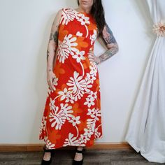 4657956930cf Vtg 60s Made In Hawaii Hawaiian Barkcloth Empire Waist Aline Dress Orange  Floral #Unbranded #