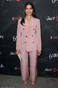Suits you! Freida Pinto was pretty in pink for the Los Angeles premiere of the Showtime drama on Thursday Tomboy Fashion, Tomboy Style, Best Celebrity Dresses, Freida Pinto, Coloured Girls, Double Breasted Jacket, Old Actress, Celebs, Celebrities