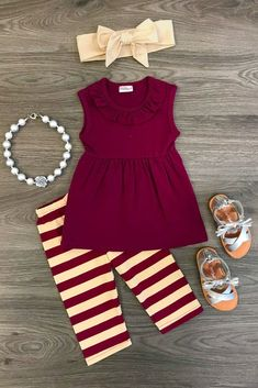 Burgundy Cream Stripe Tank Set