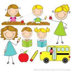 Apple for Teacher Stick Figures Cute Digital Clipart, Teacher Clip Art