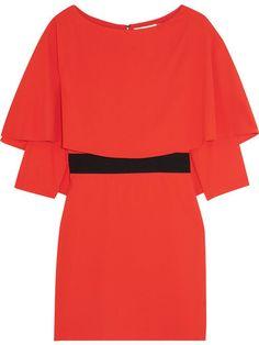 Alice + Olivia Alice Olivia - Cairo Cape-back Crepe Mini Dress - Tomato red Crepe Fabric, Draped Dress, Fashion Outlet, Women's Fashion, Alice Olivia, Short Dresses, Cairo, Polyvore, Clothes