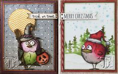 Tim Holtz with StampersAnonymous 2015 Bird Crazy stamps + StampersAnonymous Crazy Things (hats, broom, pumpkins)