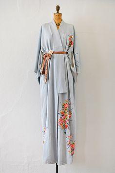 vintage sky blue silk pop flowers kimono robe