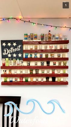 Detroit/American Flag themed Shot Glass Display for basement & man cave - we bought everything from Home Depot (paint, screws, and wood). Unfinished Basement Playroom, Man Cave Basement, Man Cave Garage, Basement Bedrooms, Basement Office, Basement Ideas, Playroom Ideas, Basement Makeover, Garage Ideas