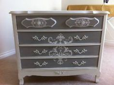 Beautiful vintage French Dresser in Pure White and Paris Grey Annie Sloan chalk paint. With ornate Vintage hardware.