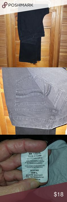 """Lee Mid-rise Bootcut Jeans Lee jeans are so comfortable, and they just love us curvy gals.  Cute details on back pockets include a thin wave of black sparkle.  Lightweight and super-stretchy 57% cotton, 41% polyester, 2% spandex.  Size 18WL have a 33"""" inseam.  These are true blackest-black, as shown in the first photo.   BUNDLE FOR THE BEST DISCOUNT!  No Trades, no PP, no off-site sales. Lee Jeans Boot Cut"""