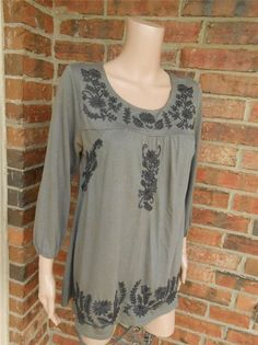 GARNET HILL Embroidered Top Size M Peasant Cotton / Modal 3/4 Sleeve Brown #GarnetHill #KnitTop #Casual