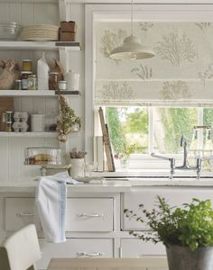 Laura Ashley opens its doors to its 'Freshwater' collection, I'm feeling a little bit Hamptons, a little bit coastal. Laura Ashley s. Fresh Farmhouse, Farmhouse Sink Kitchen, Cottage Kitchens, Country Kitchen, New Kitchen, Home Kitchens, Kitchen Dining, Kitchen Decor, Country Living