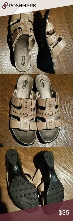 Sale* NWOT Clarks Bendables Tan Sandals These are beautiful for summer! Normal width. Velcro strap allows for some adjustability. Tan with pewter footbed, black soles.  Bundle to save! Clarks Shoes Sandals