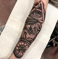 Realismo 2 Forarm Tattoos, Forearm Sleeve Tattoos, Best Sleeve Tattoos, Dope Tattoos, Tattoo Sleeve Designs, Tattoo Designs Men, Hand Tattoos, Third Eye Tattoos, All Seeing Eye Tattoo