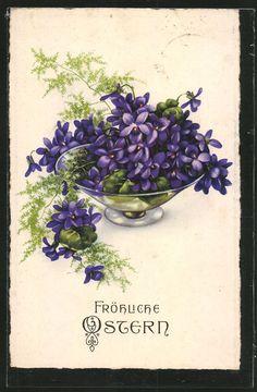 Vintage German Greetings - Violets and Fern