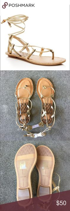 """Dolce Vita Karma Lace Up Sandals Never worn, Dolce Vita's Grecian-inspired glam sandals, the """"Karma,"""" shines with lizard-embossed straps in a lace-up design that wraps around the ankle. Thin rope sole detail (see pic 8). Beaded ties. Pics 1, 7 and 8 are stock photos. 🚫No trades🚫 Dolce Vita Shoes Sandals"""