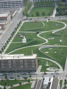 Pappajohn Sculpture Park, Des Moines, Iowa The 24 sculptures are valued at more than 40 million & were all donated by Mary & John Pappajohn (Also, interesting to note, the area of trees in the upper right-hand area of the photo is part of Meredith Corporation's Better Homes & Gardens Test Garden)