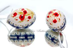 Easter Eggs Hand Painted Duck Eggs Poppies. by Bettineum on Etsy