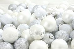 White  and silver christmas baubles