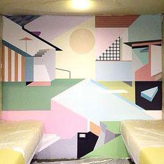 """#sunniesHQ mural, day 5: @krisabrigo finalized some finishing touches ""   Sunnies Studios"
